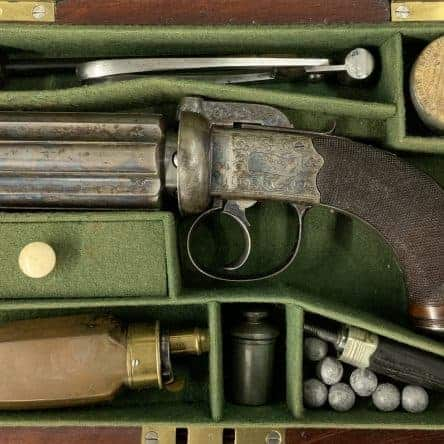 Cased Pepperbox Revolver by Joseph Wood