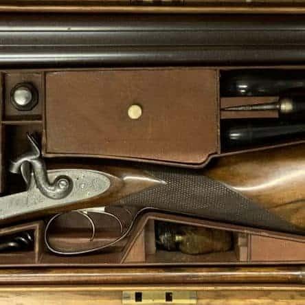 Cased Double Barrelled Shotgun by John Pratt of Edinburgh